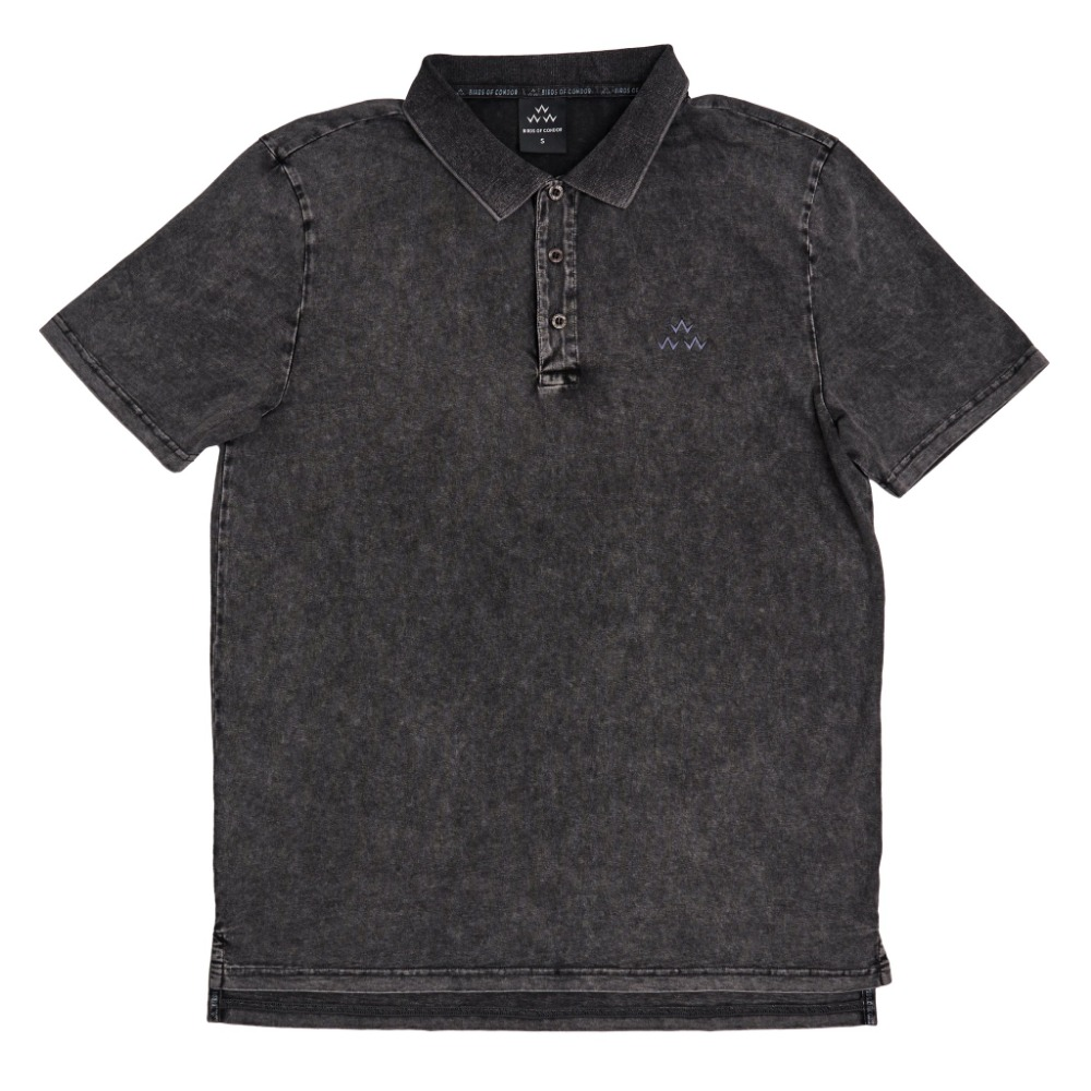 BIRDS OF CONDOR - STONEWASH POLO BLACK